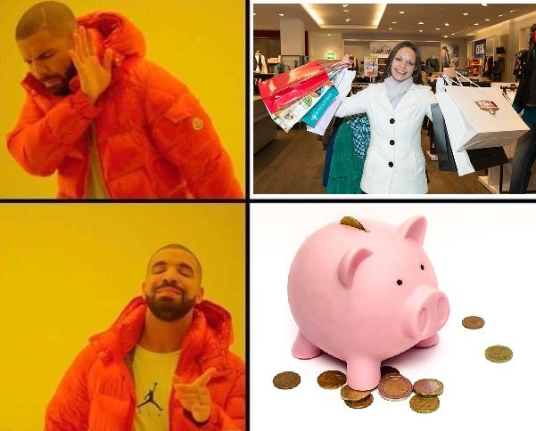 Meme hombre vestido de naranjo diciendo gastar todo el dinero no, ahorrar si, para viajar gastando poco.